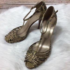 Stuart Weitzman Leather Snakeskin Strappy Heels